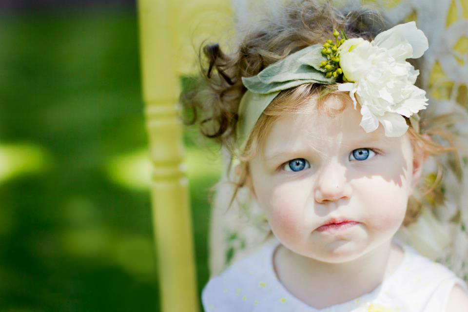 flower girl head band with peony bloom
