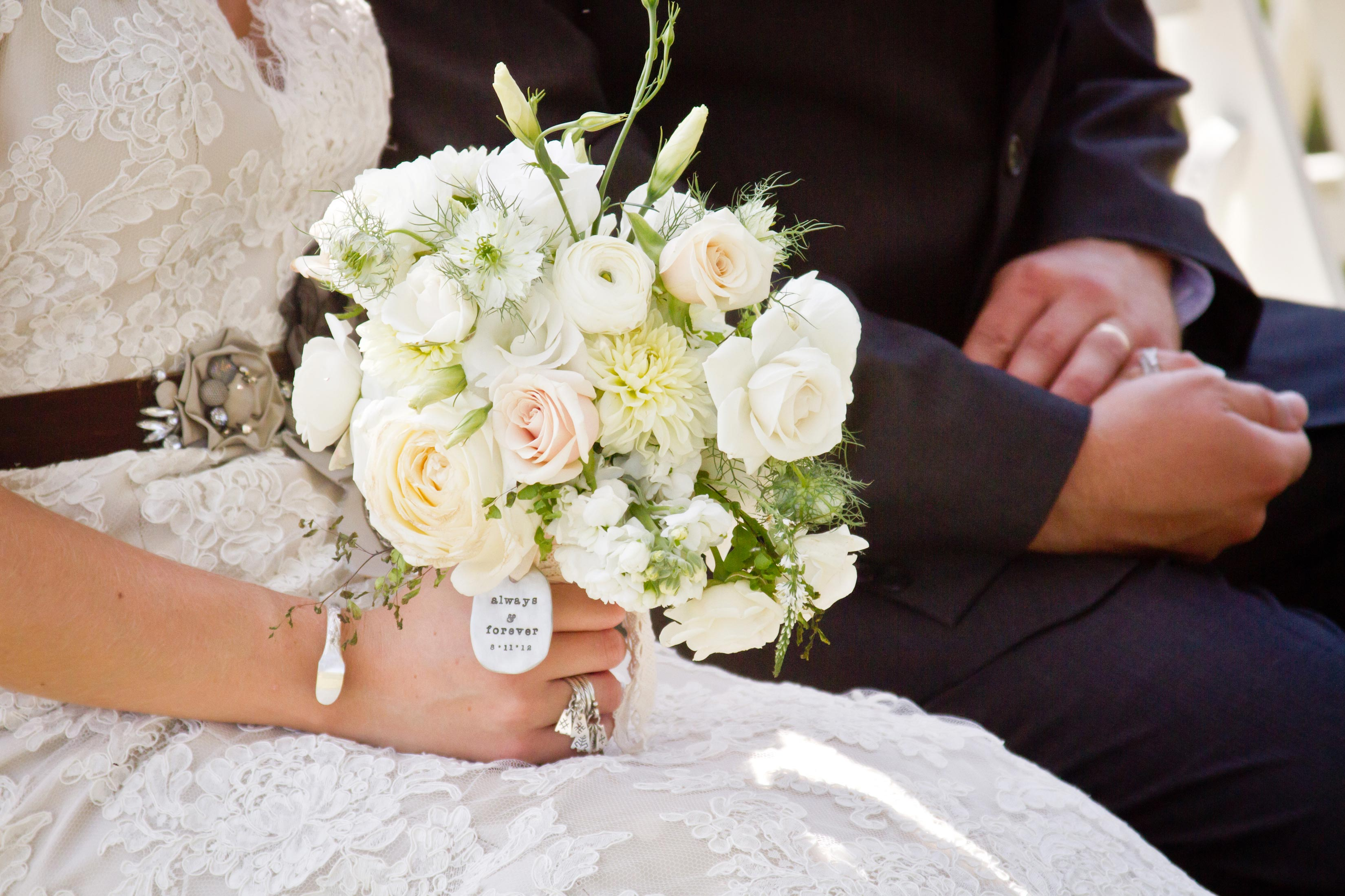 rustic bridal bouquet in ivory and blush