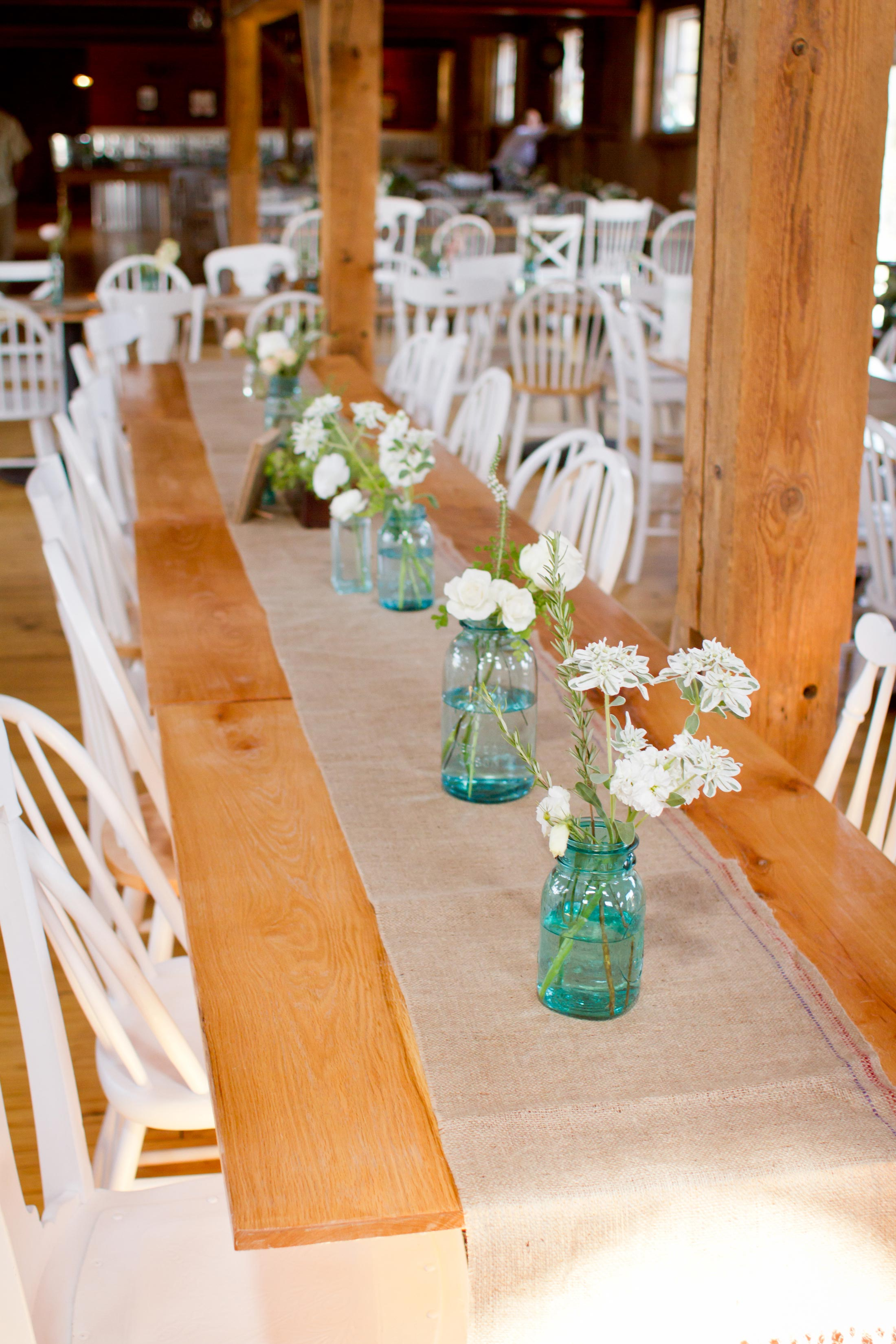 vintage teal ball jar centerpieces at barn at harvest moon pond