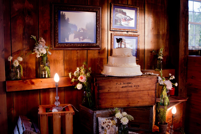 rustic wood crate cake display