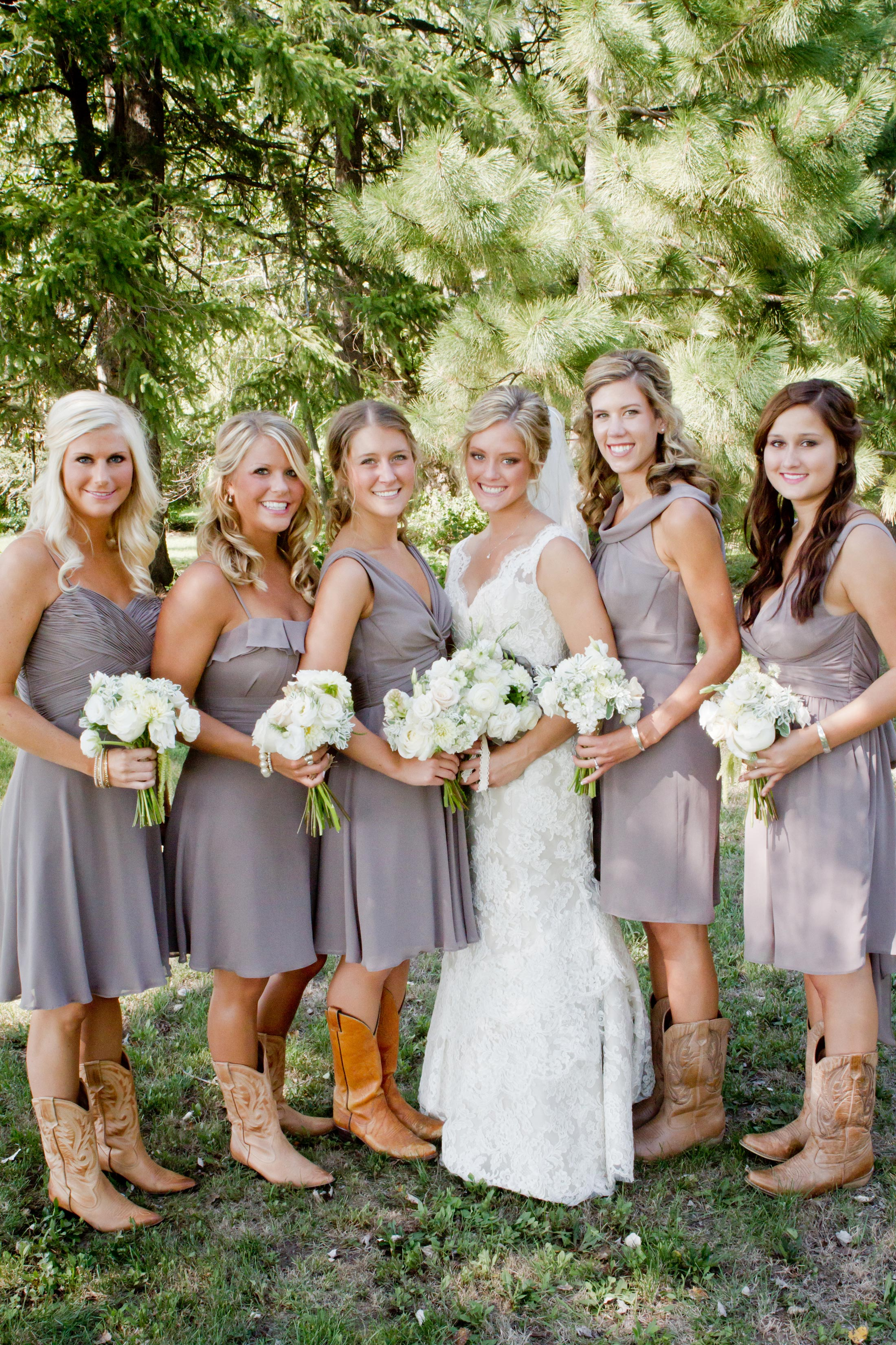 rustic bridesmaids with cowboy boots