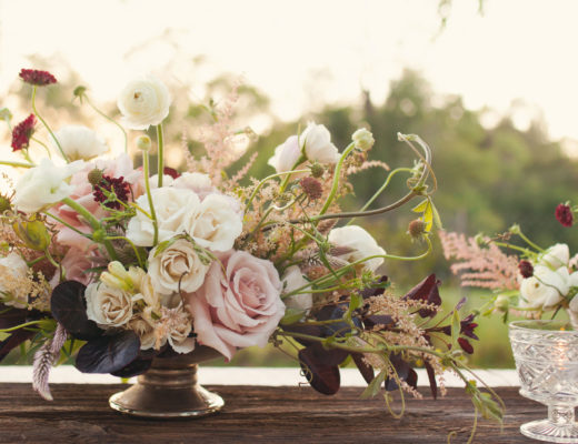 romantic whimsical centerpiece of ivory and blush