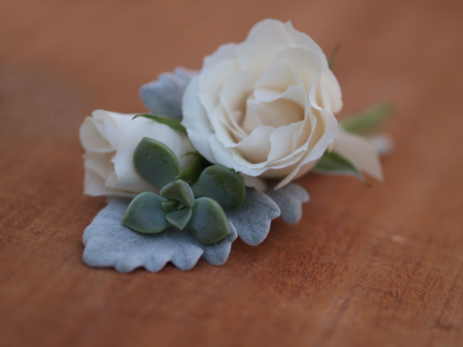 spray rose and succulent boutonniere