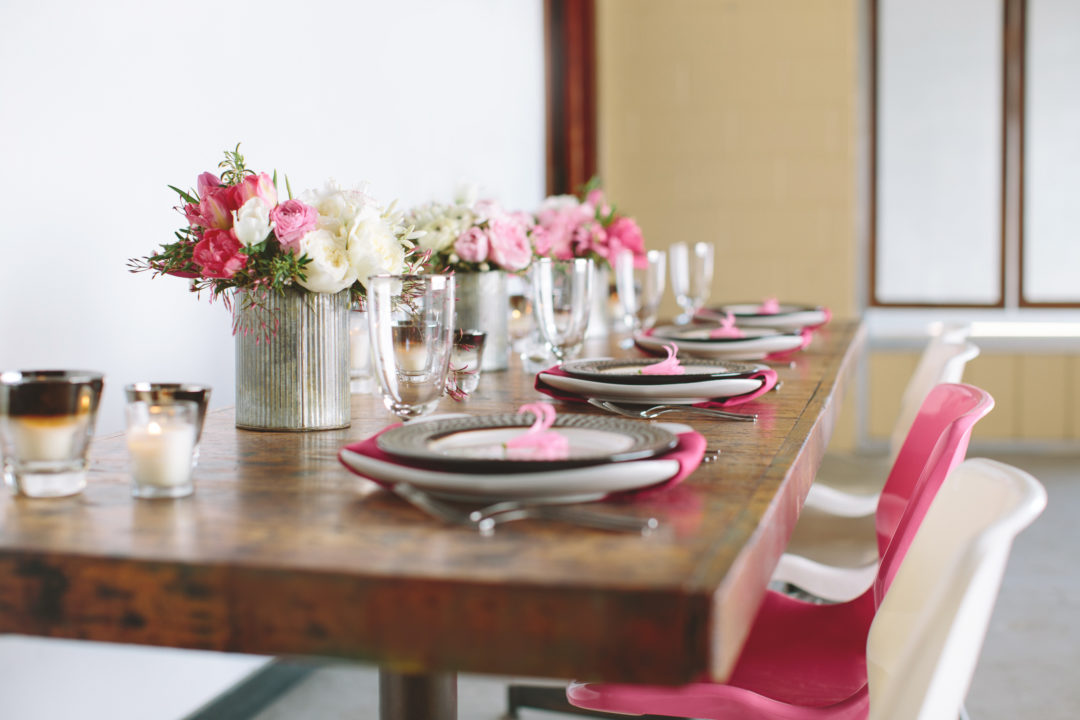 industrial tin vases with pink and white ombre floral