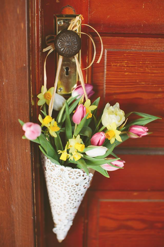 may day spring flower basket
