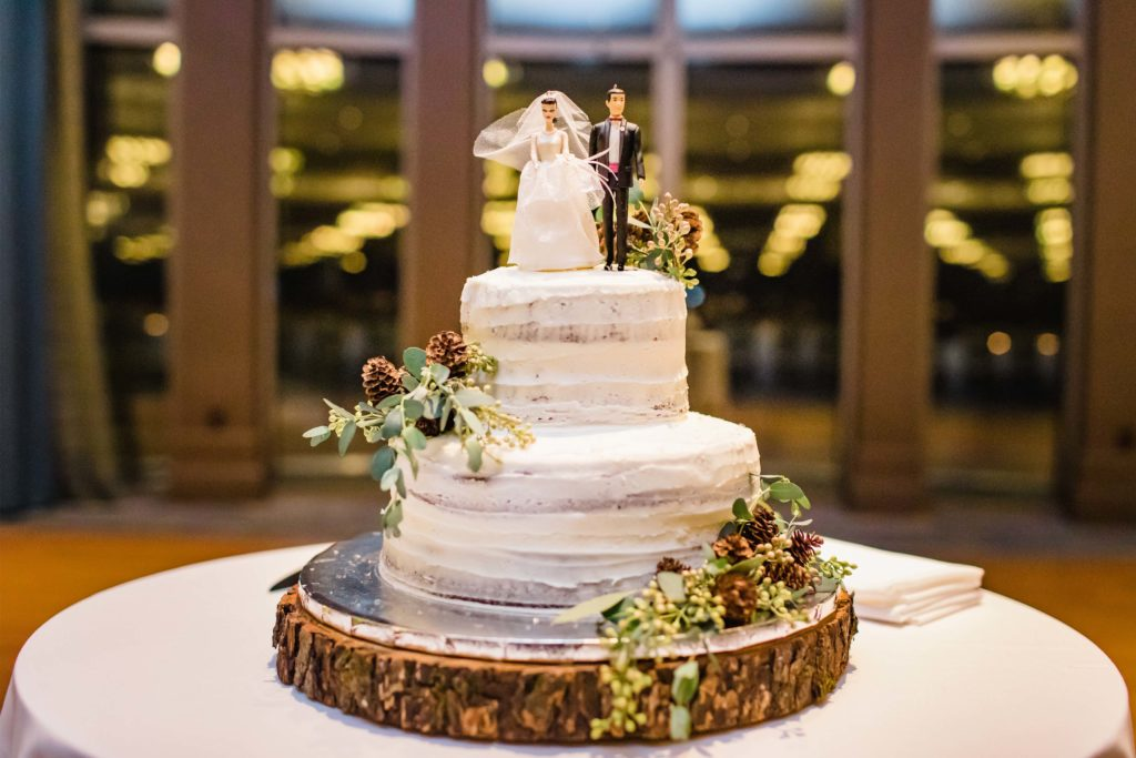 rustic wedding cake at The Edgewater Hotel Madison WI
